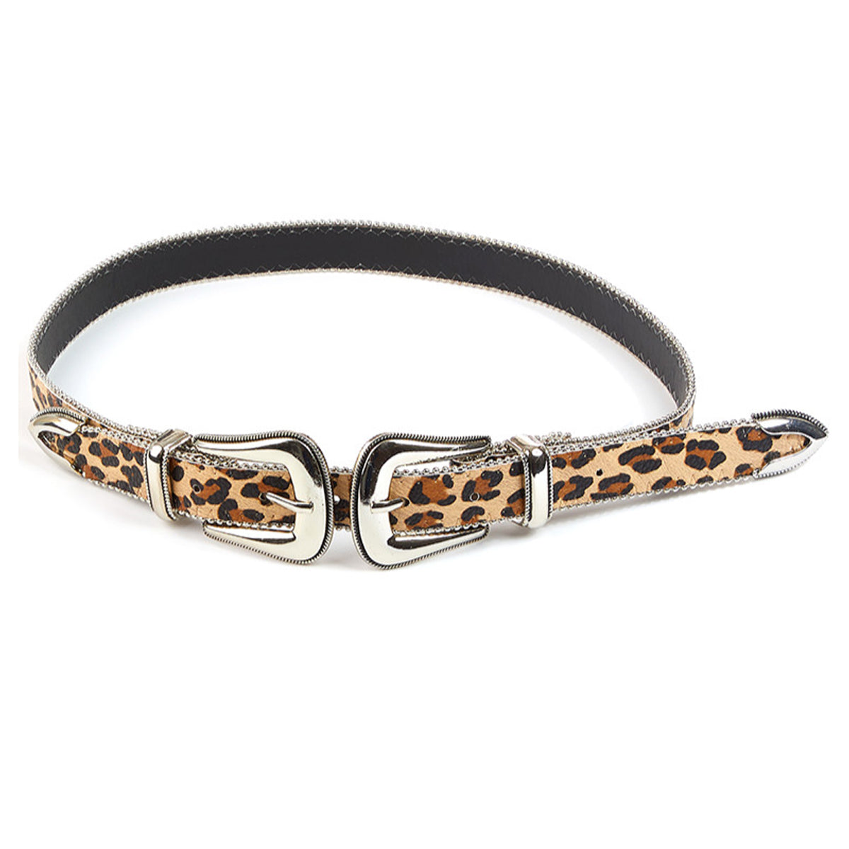 Fame Accessories Edge Studded Double Buckle Faux Leather Belt - Leopard