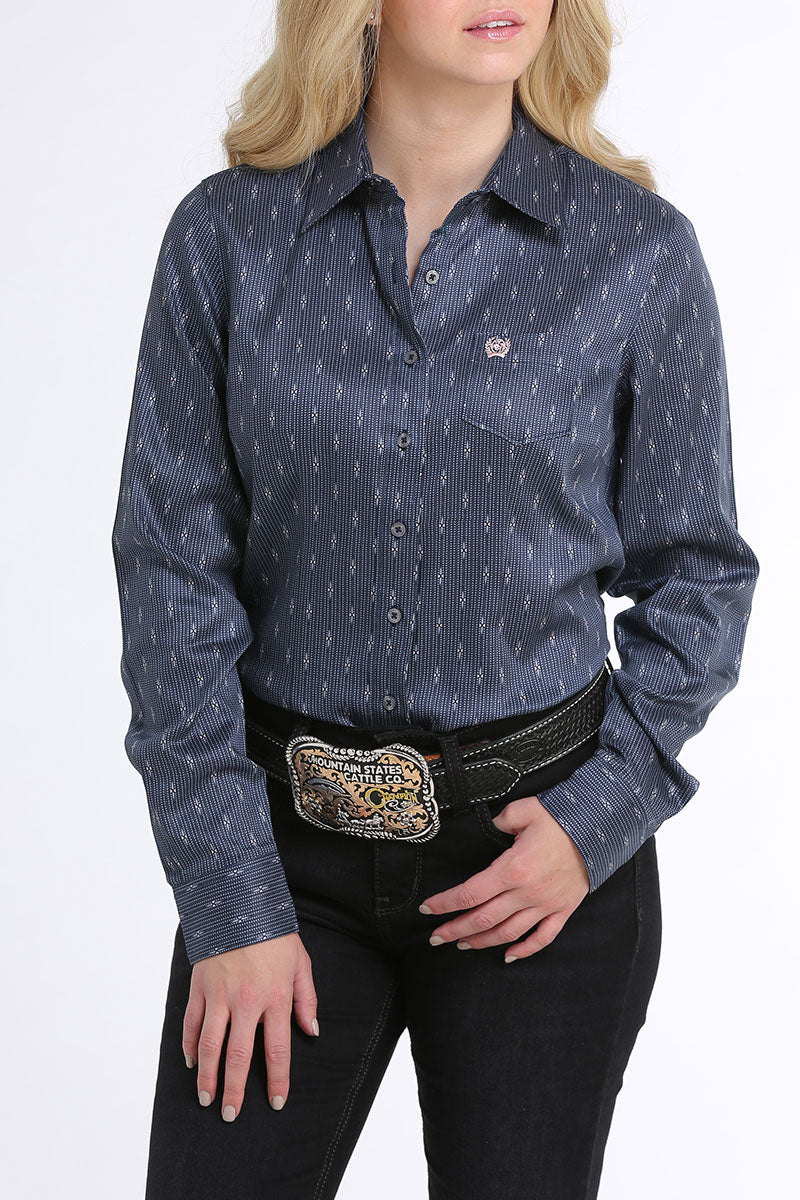 Cinch Blue Printed Women's Button Down