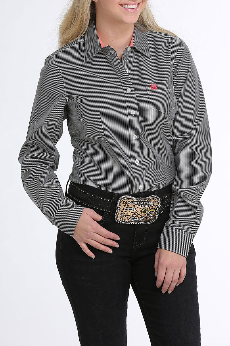 Cinch Grey Stripe Women's Button Down