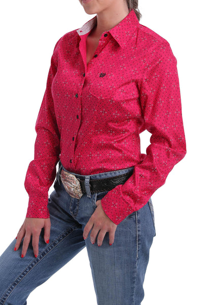 Cinch Women's Long Sleeve Bandana Print Pink Woven Shirt