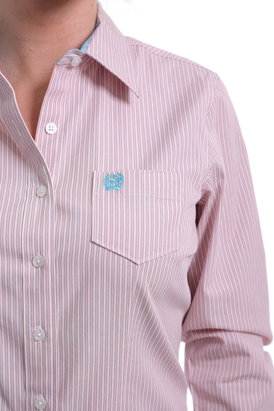 Cinch Women's Woven Pink Stripe Button Down Shirt
