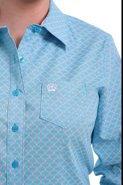 Cinch Women's Woven Blue Print Long Sleeve Button Down Shirt
