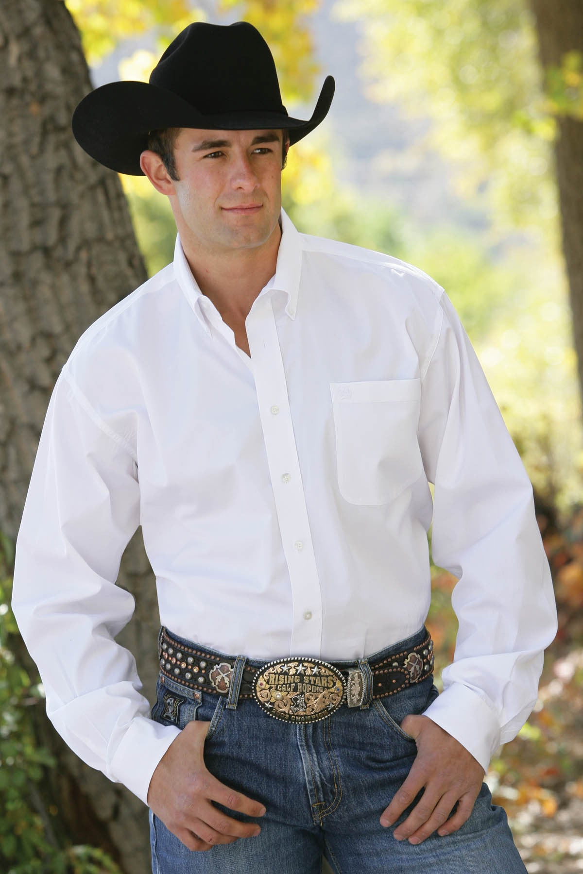 Cinch Long Sleeve Solid White Men's Shirt