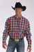 Cinch Red Plaid Button Down Men's Shirt