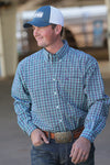 Cinch Turquoise Plain Weave Plaid Men's Button Down Shirt