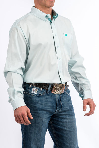 Cinch Aqua Solid Men's Button Up Shirt