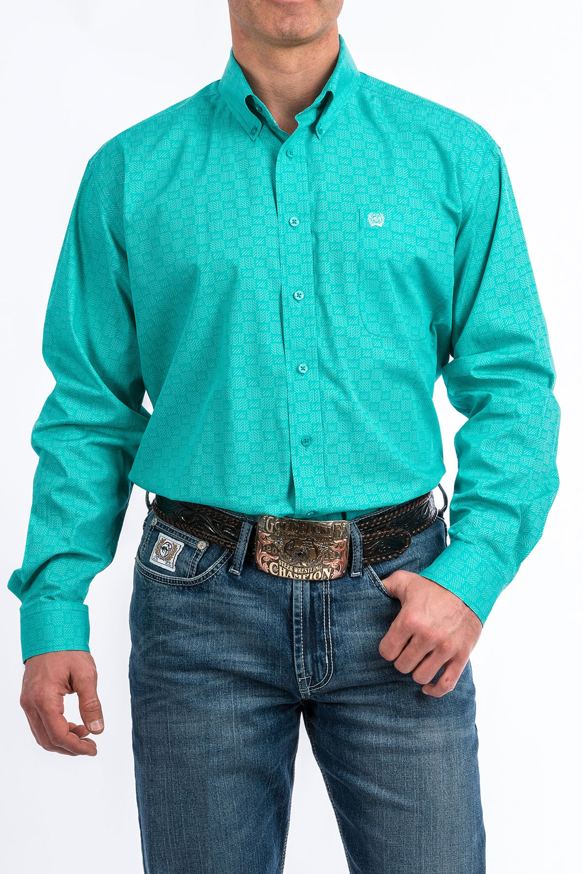 Cinch Long Sleeve Turquoise Pattern Shirt