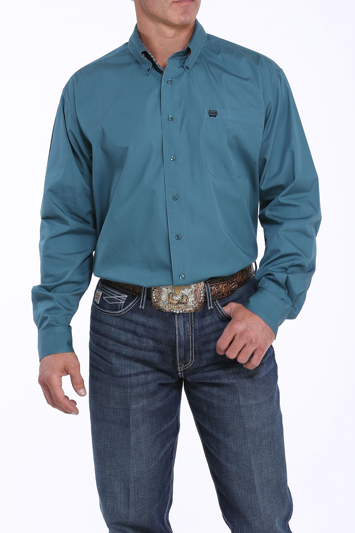 Cinch Teal Contrast Cuff Men's Button Down