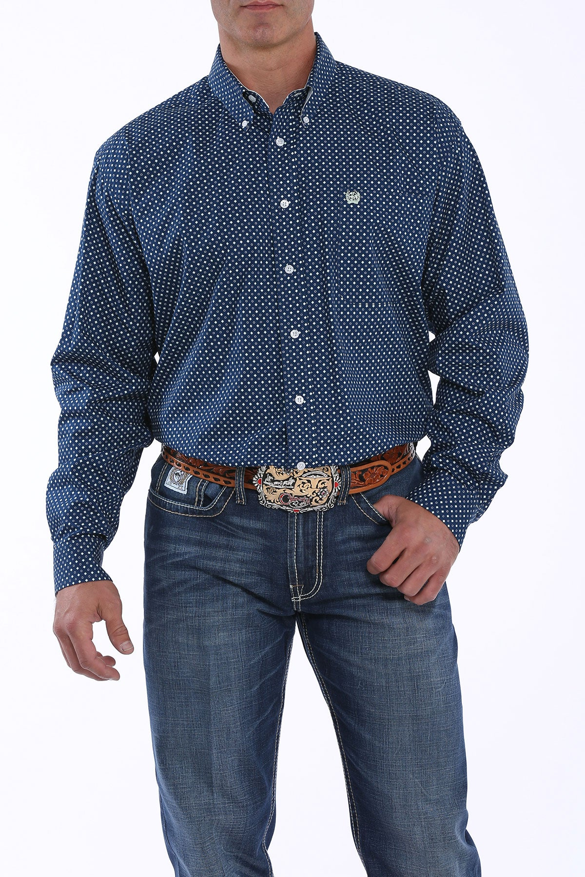 Cinch Royal Blue and White Dot Print Men's Button Down
