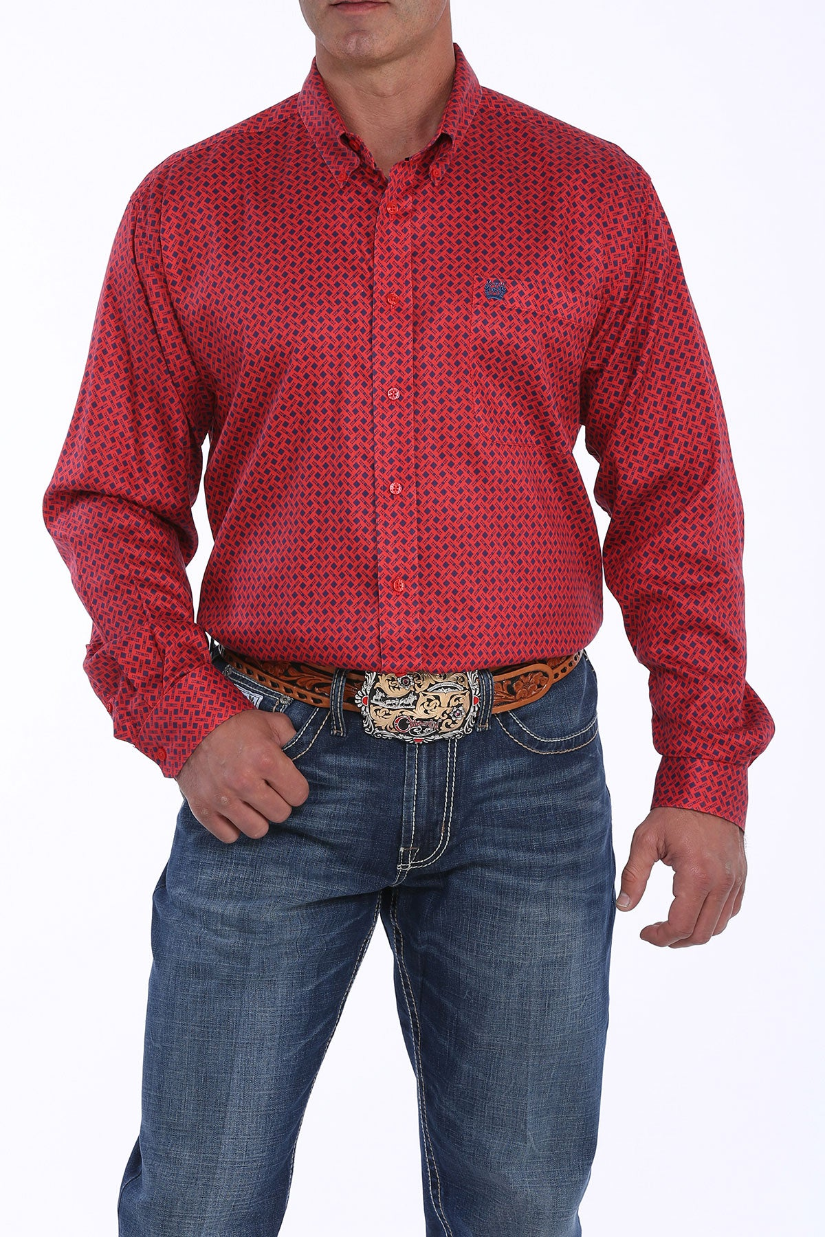Cinch Red Graphic Print Men's Button Down