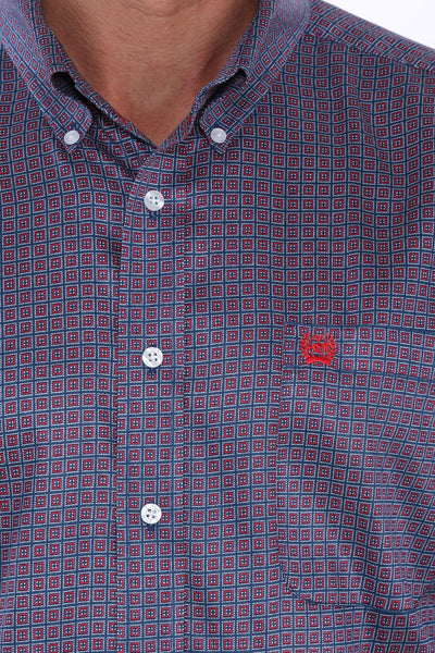Cinch Navy Red Square Pattern Men's Button Down