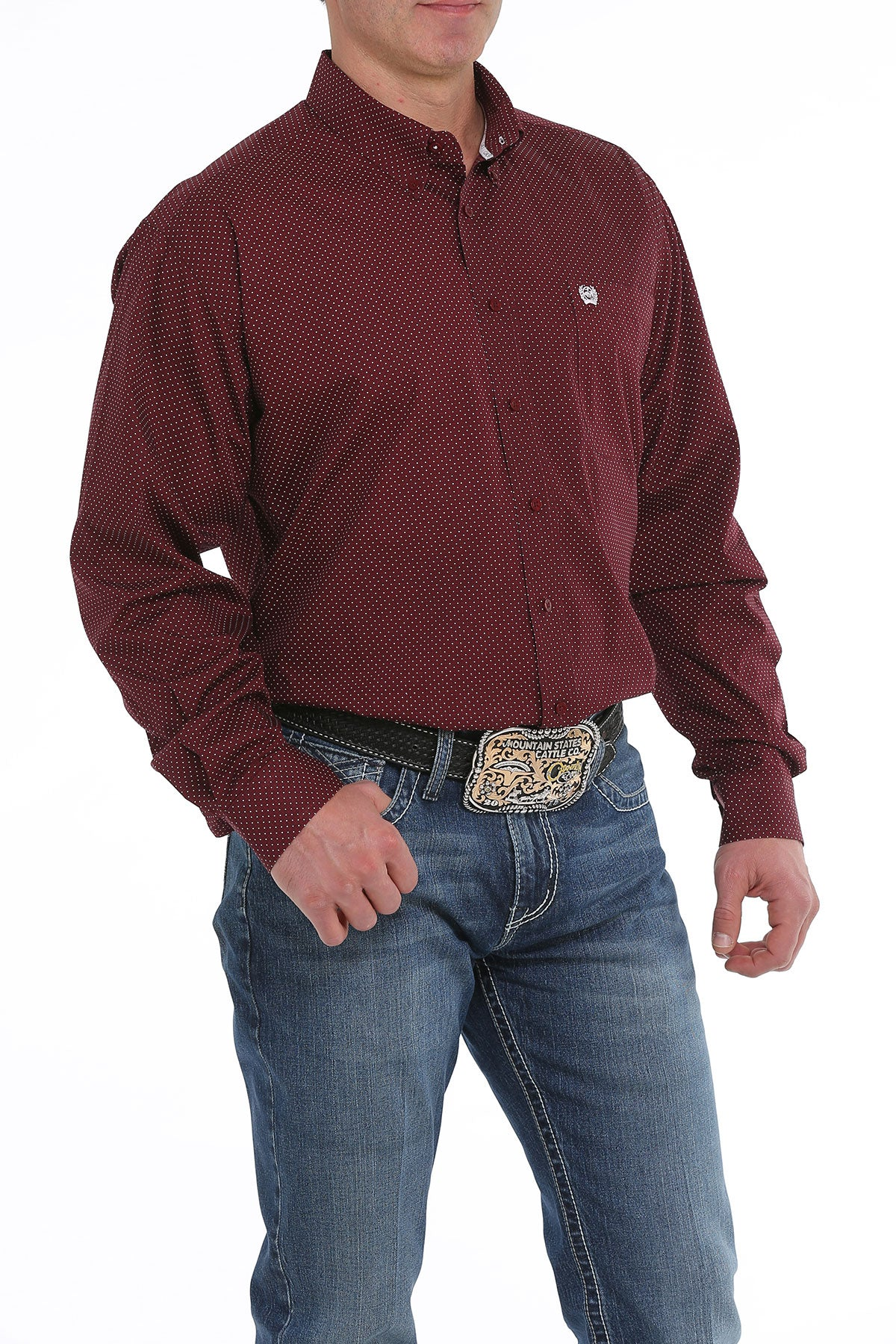 Cinch Maroon Print Men's Button Down