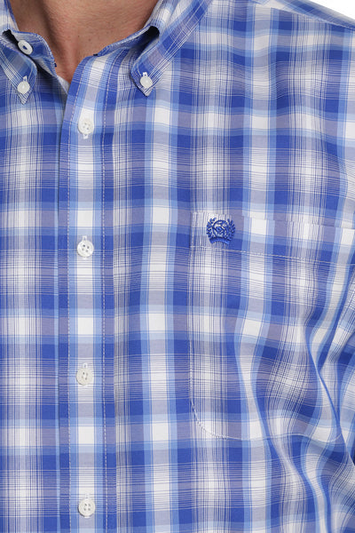 Cinch Classic Fit Bright Blue Plaid Men's Button Down