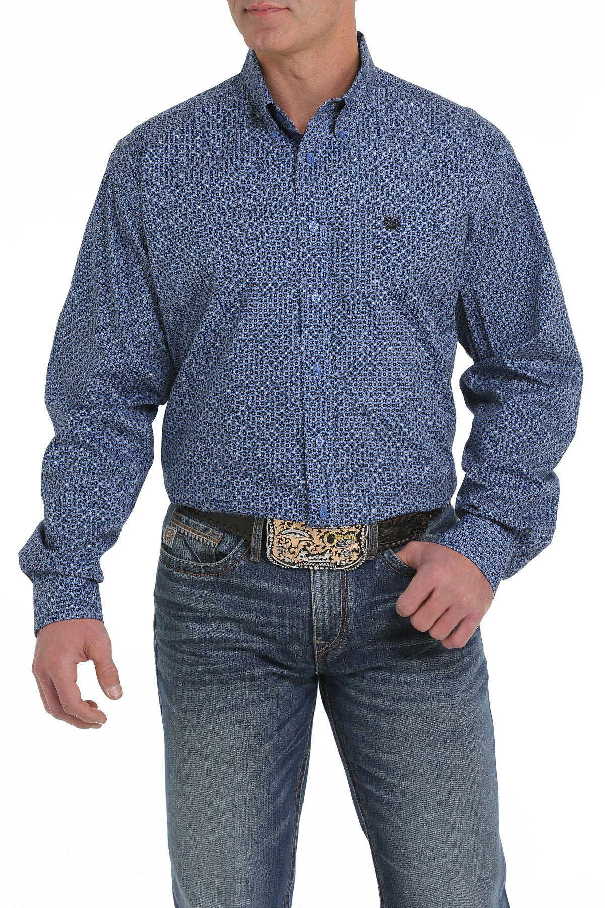 Cinch Classic Fit Faded Blue Men's Button Down