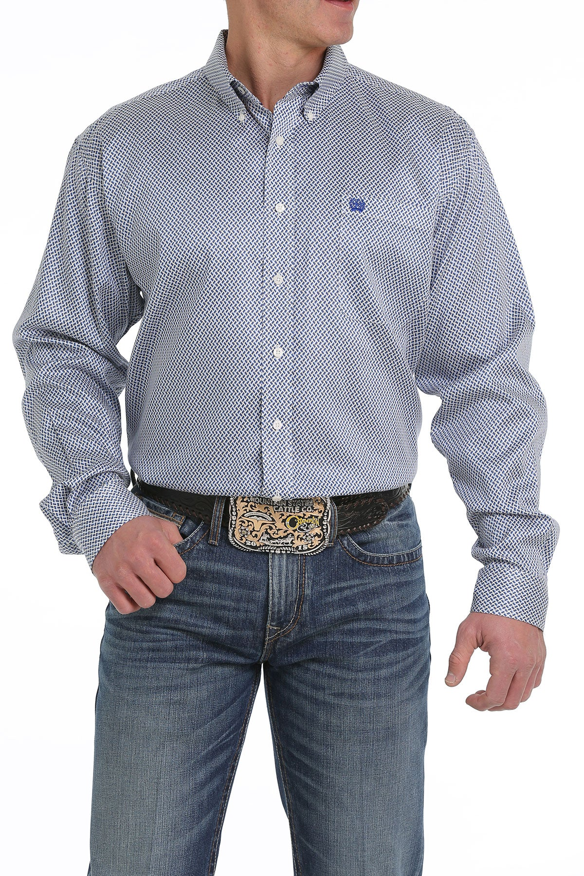 Cinch Baby Blue Classic Fit Men's Button Down