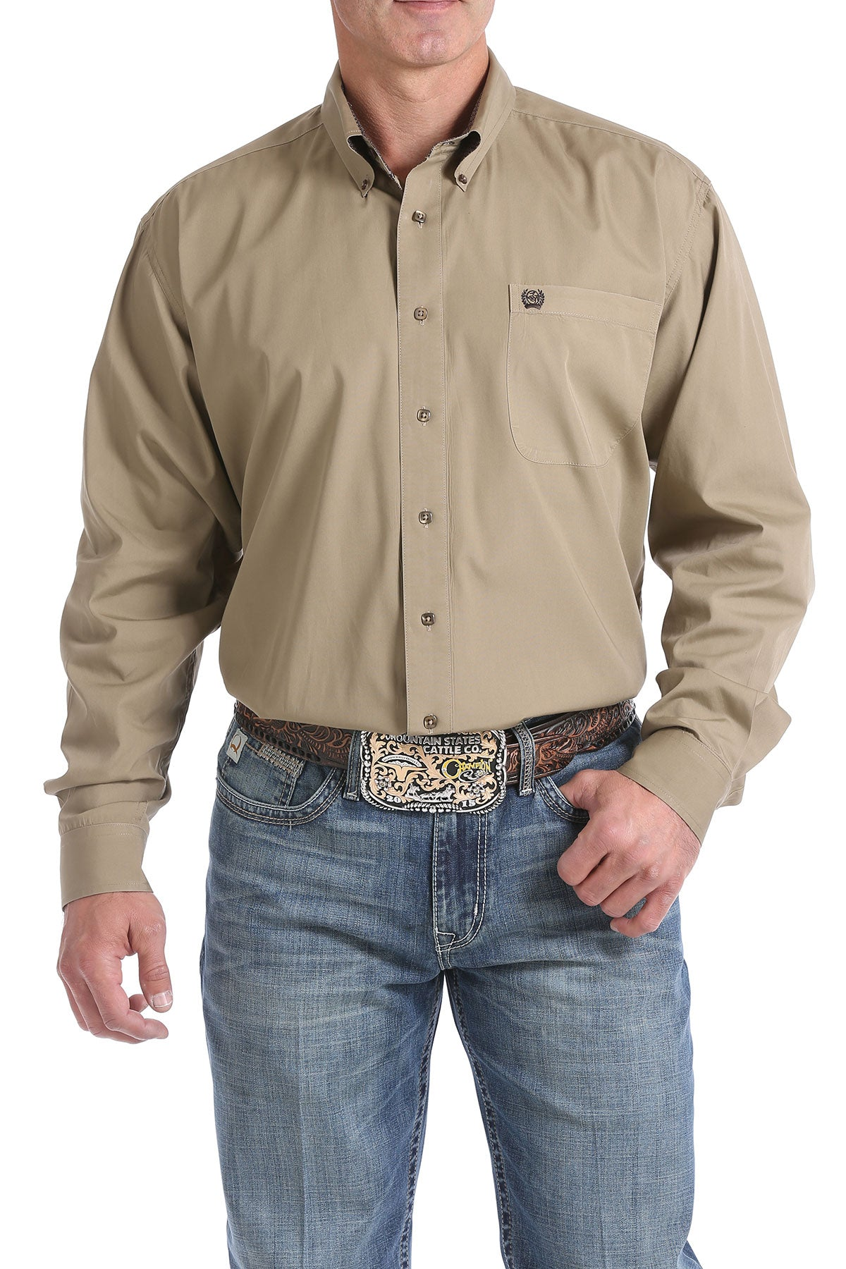 Cinch Solid Tan Men's Button Down