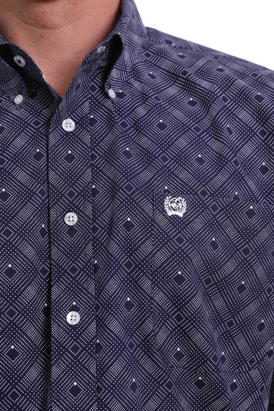 Cinch Men's Printed Button Down Long Sleeve Shirt - Navy