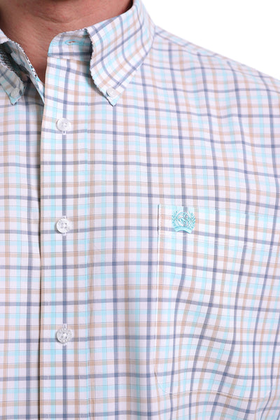 Cinch Men's Button Up Long Sleeve Shirt - White Plaid