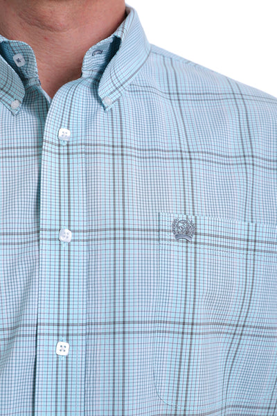 Cinch Men's Long Sleeve Blue Plaid Shirt