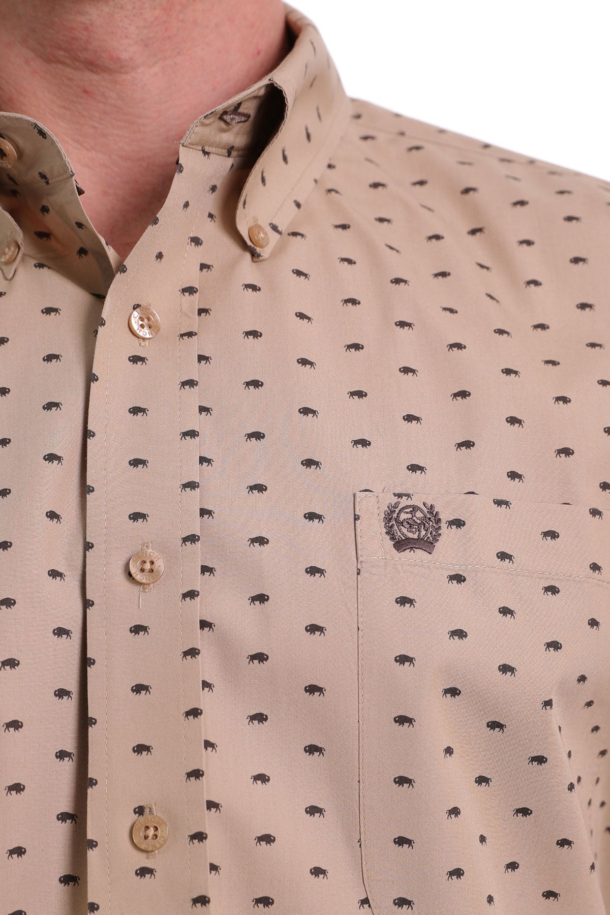 Cinch Long Sleeve Buffalo Print Khaki Button Up Shirt