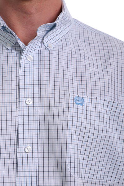Cinch Men's Button Down Long Sleeve Shirt - Blue and White Plaid