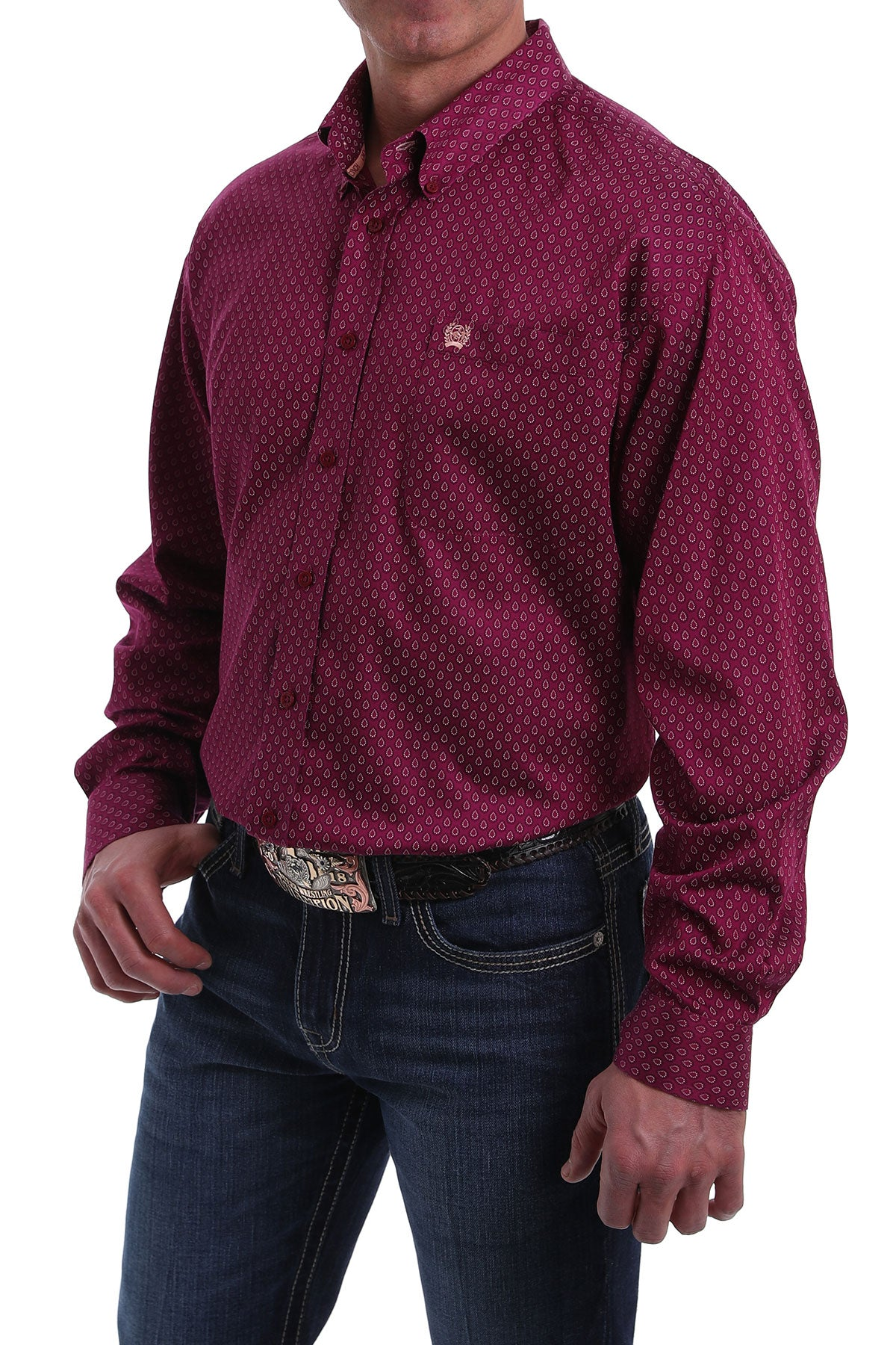 Cinch Men's Long Sleeve Maroon Print Classic Shirt