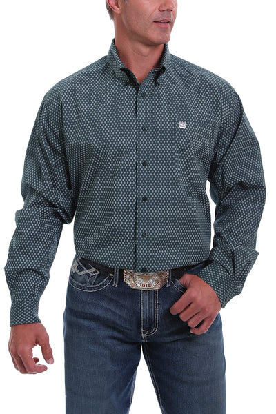 Cinch Men's Print Button-Down Long Sleeve Shirt - Forest Green White and Black Diamond