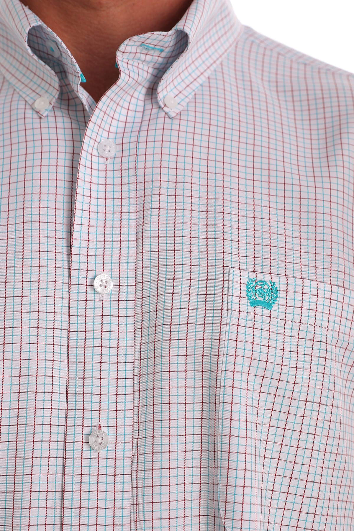 Cinch Classic Fit Men's Long Sleeve White and Blue Plaid