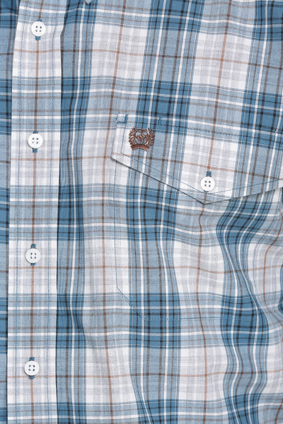 Cinch Blue and White Plaid Men's Button Down