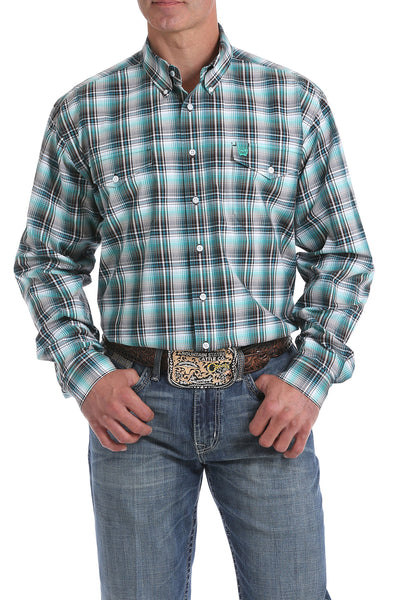 Cinch Teal Plaid Men's Button Down