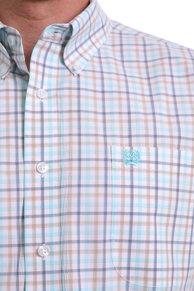 Cinch Short Sleeve White Plaid Classic Button Up Shirt