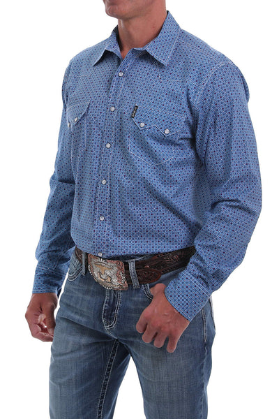 Cinch Men's Modern Fit Blue And Red Circle Print Long Sleeve Western Shirt