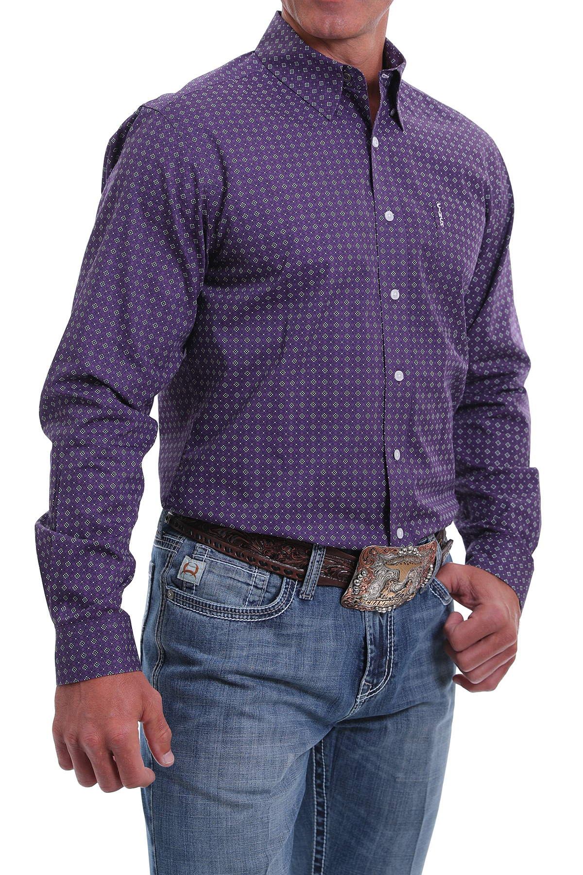 Cinch Men's Long Sleeve Modern Fit Button Up Shirt