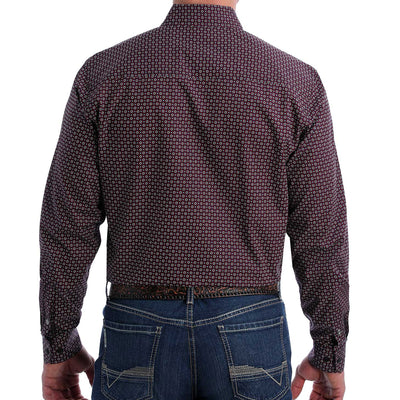 Cinch Men's Modern Fit Western Long Sleeve Shirt - Black Geo Print