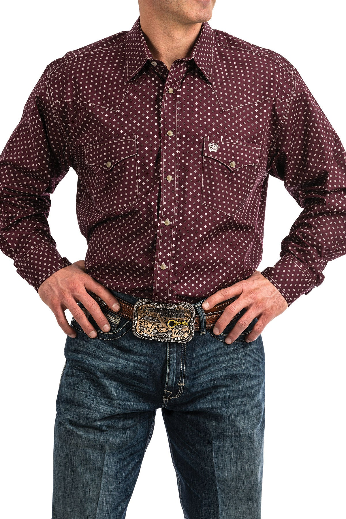 Cinch Burgundy Men's Pearl Snap Shirt