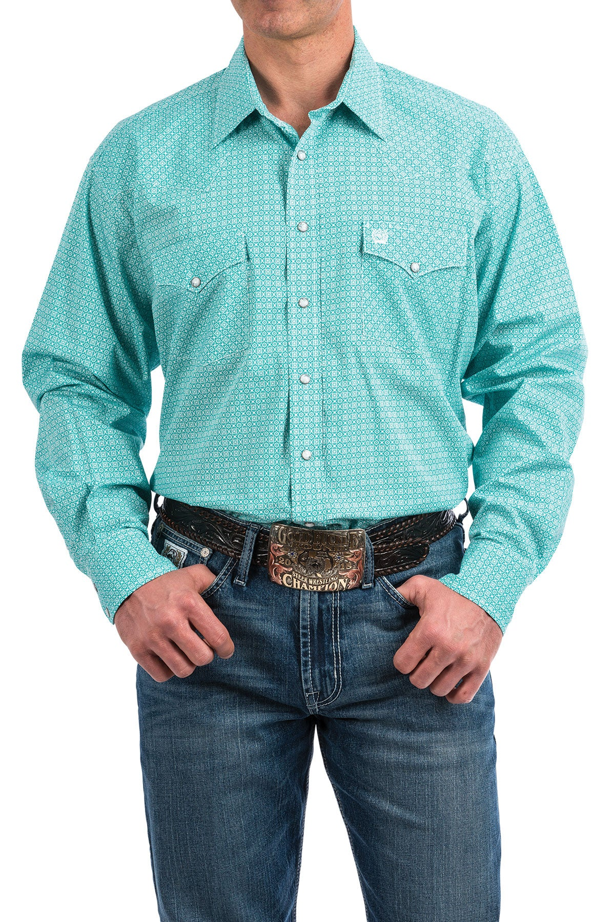 Cinch Long Sleeve Turquoise Print Shirt