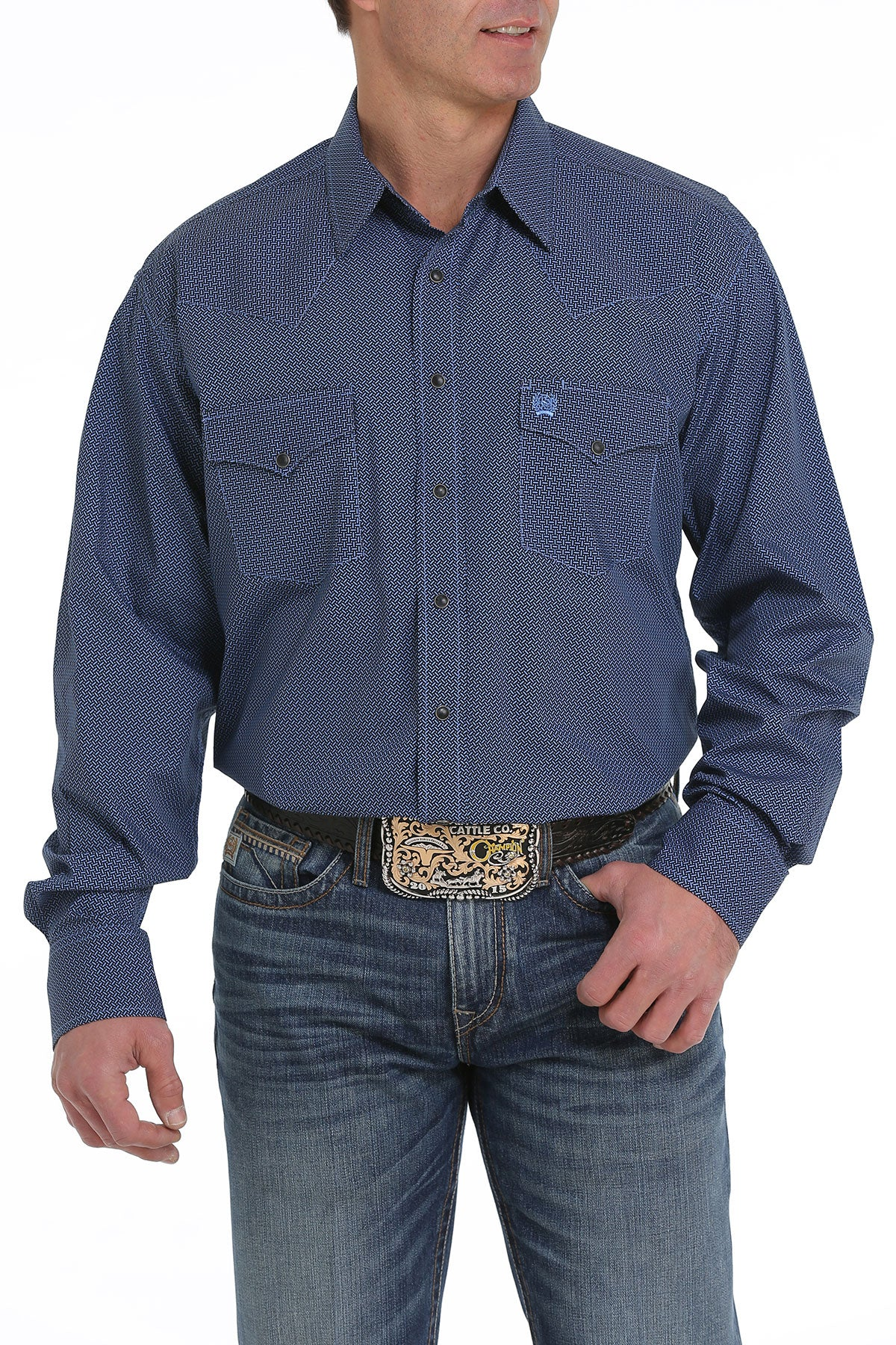 Cinch Classic Fit Blue Medallion Print Men's Pearl Snap