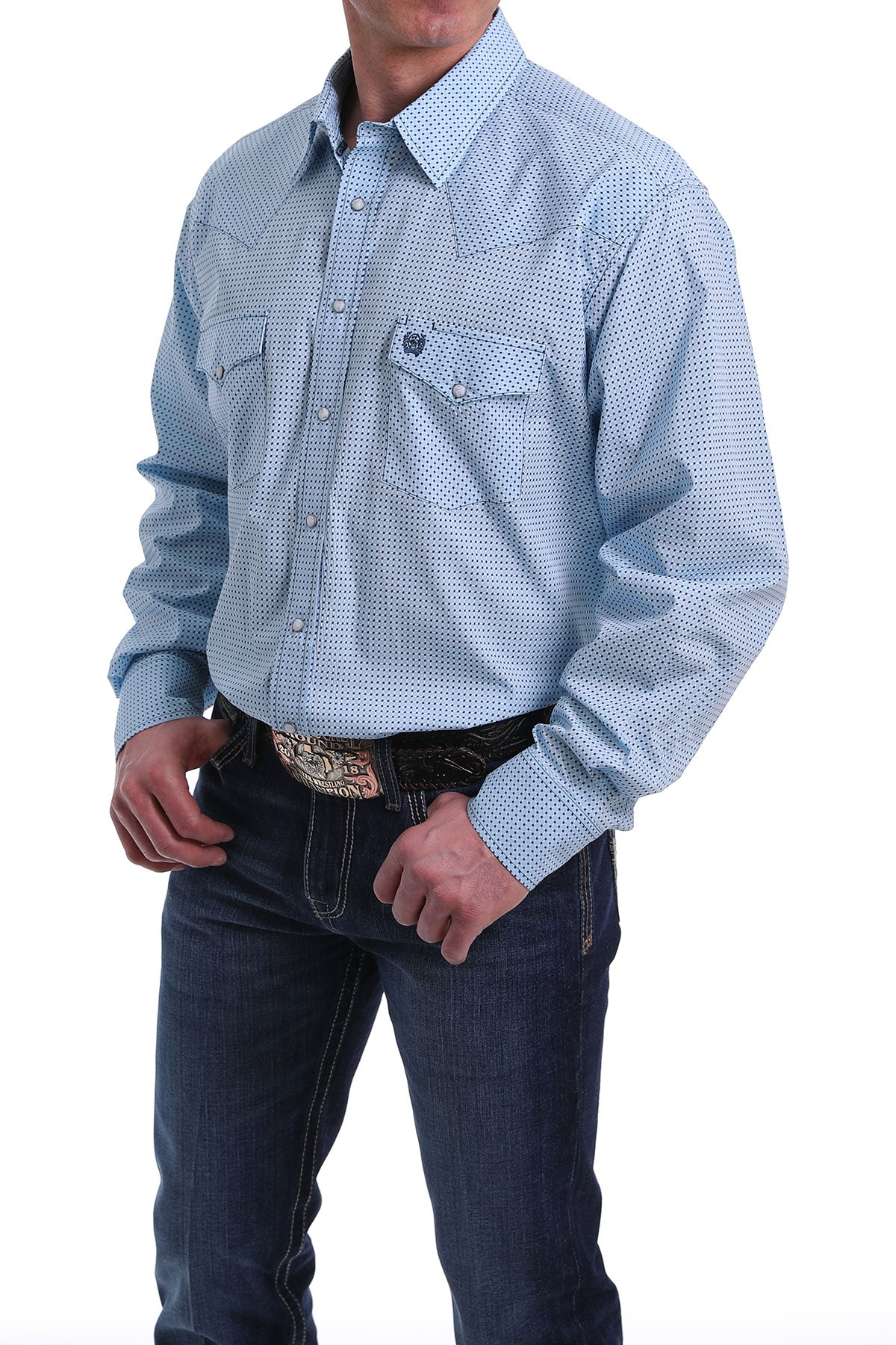 Cinch Men's Long Sleeve Blue Western Pearl Snap Shirt