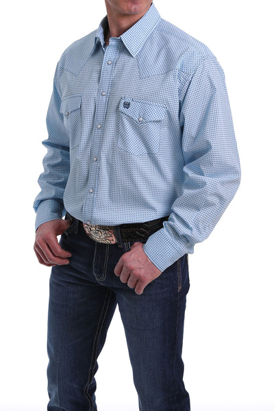 Cinch Men's Western Pearl Snap Long Sleeve Shirt - Blue