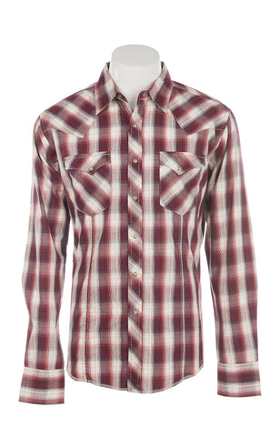 Men's Red and White Plaid Pearl Snap