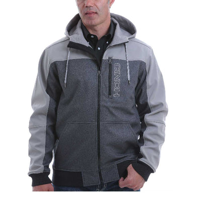 Cinch Men's Color Blocked Bonded Hoodie -  Two Tone Grey