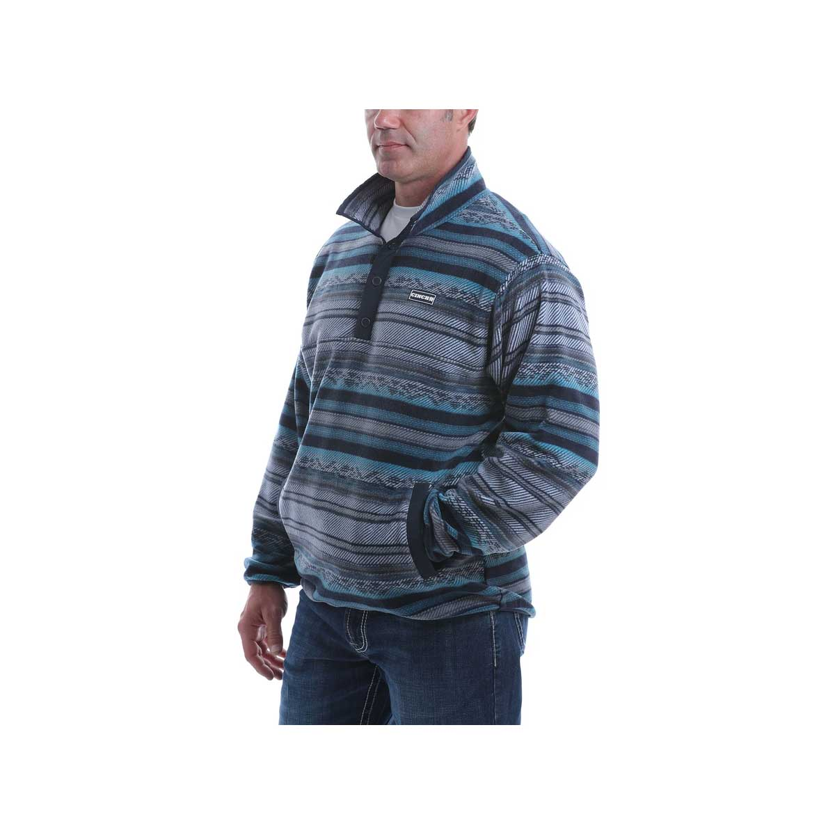 Cinch Men's Polar Fleece Pullover Sweatshirt - Multi Dark Aztec Striped