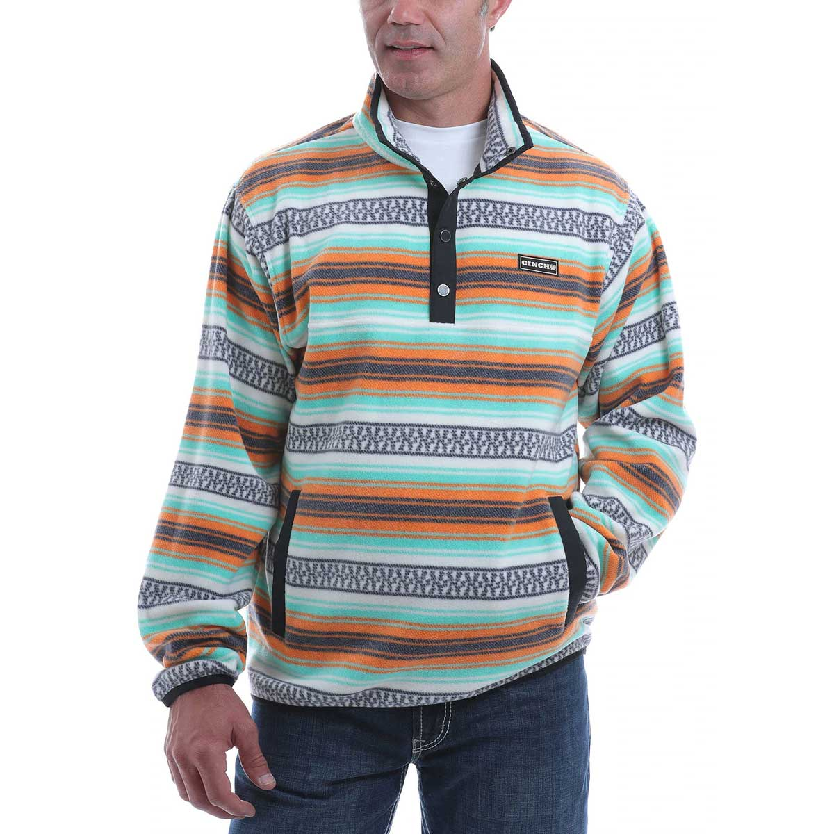 Cinch Men's Striped Multi-Color Polar Fleece Pullover
