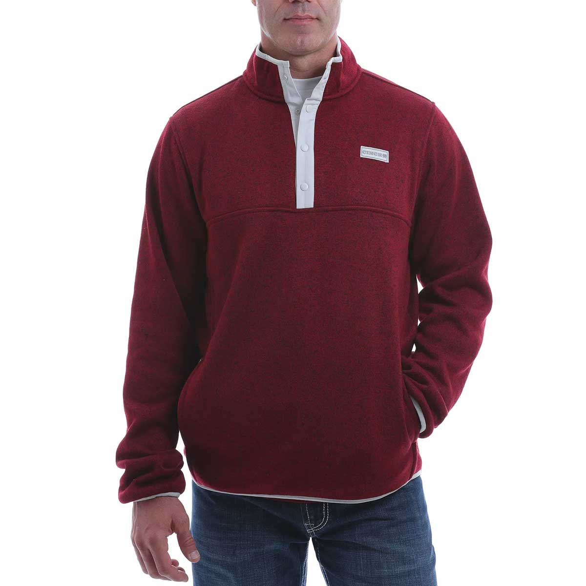Cinch Men's 1/4 Snap Front Heavyweight Knit Pullover Sweatshirt - Burgundy