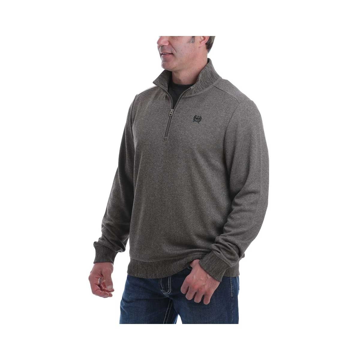 Cinch Men's 1/4 Zip Sweater Knit Pullover Sweatshirt - Brown