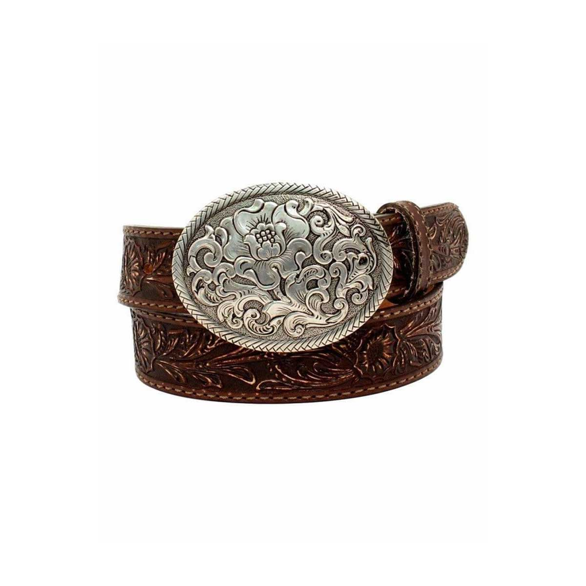 M & F Western Nocona Belle Forche Floral Embossed Belt and Matching Oval Buckle