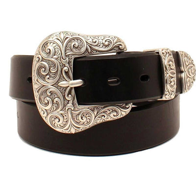 M & F Western Nocona Ladies' Silver Belt - Dark Brown