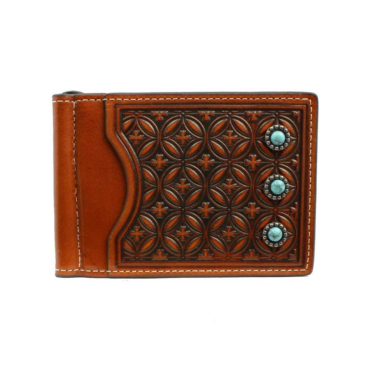 M & F Western Nocona Embossed Turquoise Stone Money Clip Wallet - Dark Tan