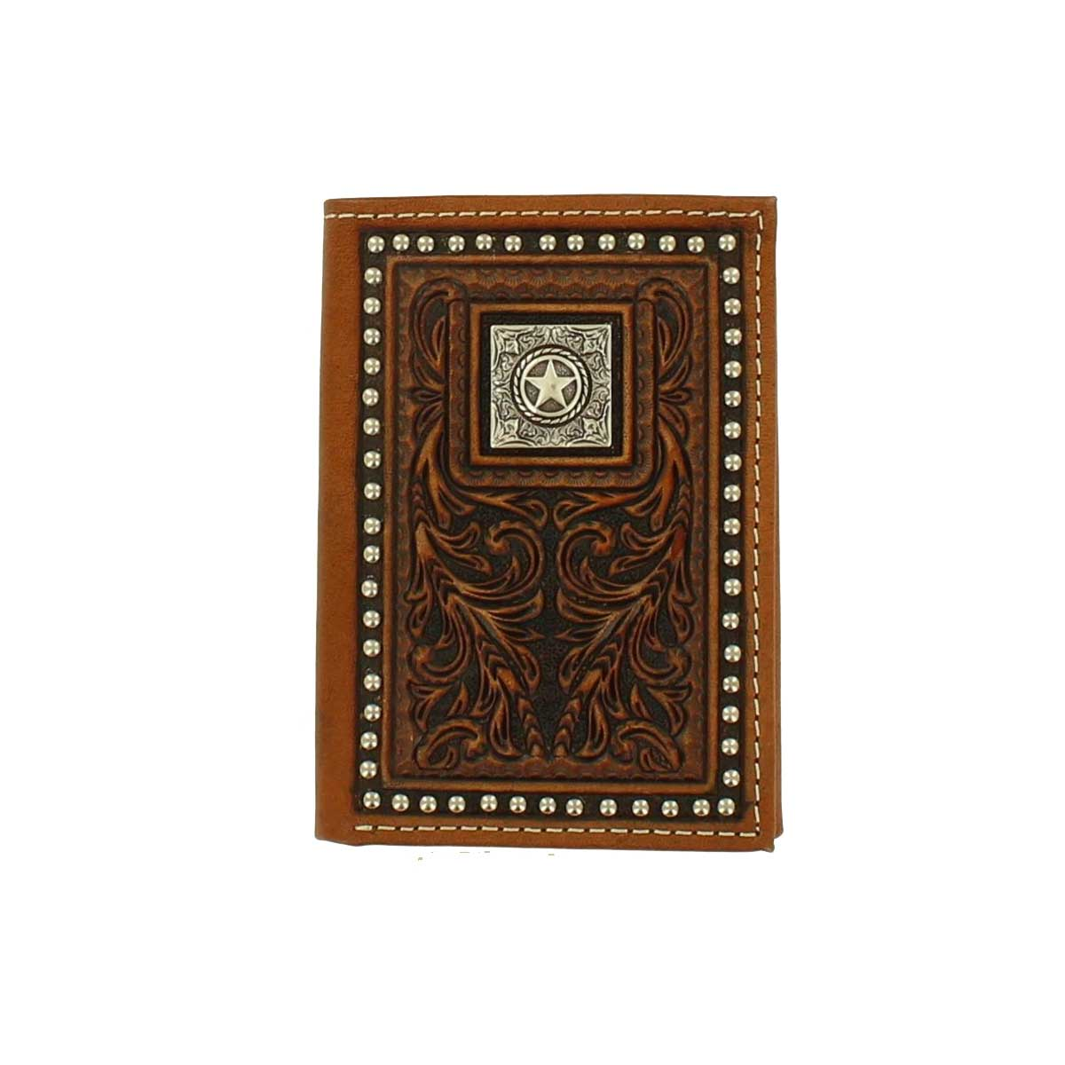 M & F Western Nocona Trifold Tooled Leather Star Concho Wallet