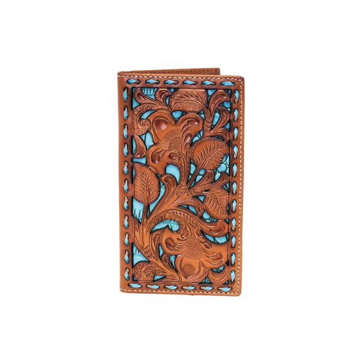 M&F Western Products Men's Nocona Floral Turquoise Underlay Rodeo Wallet - Turquoise